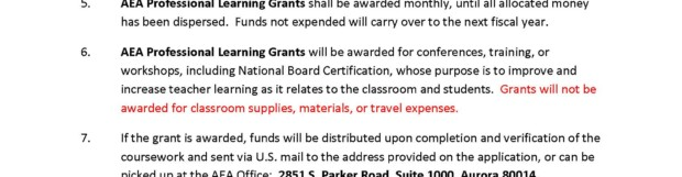AEA Professional Learning Grant Application 2019-2020